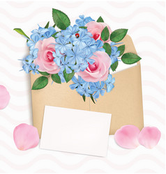 Gift envelope with a bouquet roses and phloxes vector