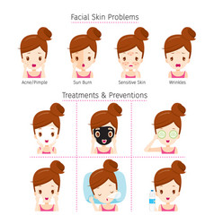 girl with problems on face vector image