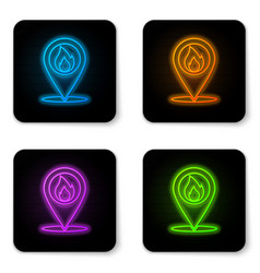 glowing neon map pointer with fire flame icon vector image