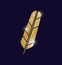 gold feather plume design vector image