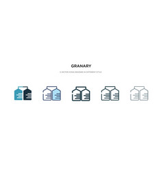 granary icon in different style two colored vector image