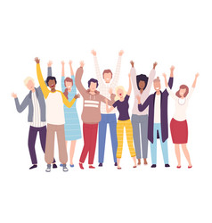 Group people standing with raising hands young vector