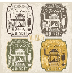Grunge vintage labels of whiskey with home alcohol vector