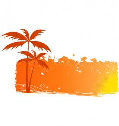 Grungy background with palm trees vector
