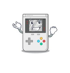 Happy confident successful handheld game scroll vector