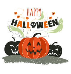 Happy halloween autumn holiday celebration carved vector