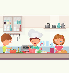 Happy little cute children kids cooking delicious vector