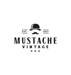 hipster gentleman hat bowler mustache vintage logo vector image