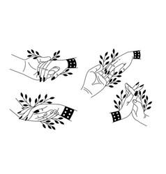 Holding two hands set cartoon romantic symbols vector