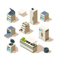 industrial restaurant equipment kitchen tools for vector image