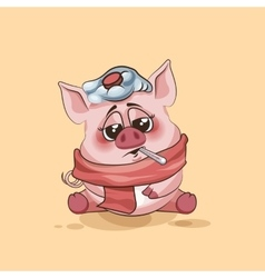 Isolated Emoji character cartoon Pig sick with vector