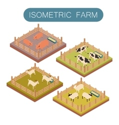 Isometric farm animals set vector