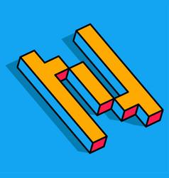 isometric n letter n 3d logo vector image