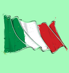 Italian artistic brush stroke waving flag vector