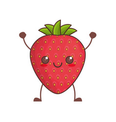 kawaii strawberry fruit image vector image