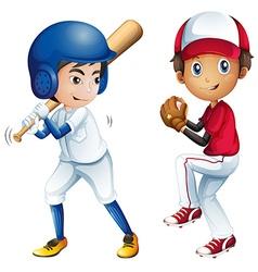 Kids playing baseball vector