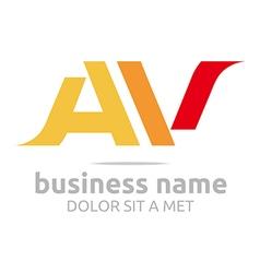 Letter a v alphabet element icon vector