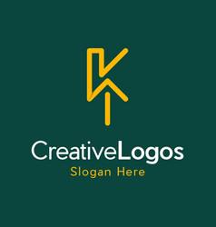 letter k up arrow creative business logo vector image