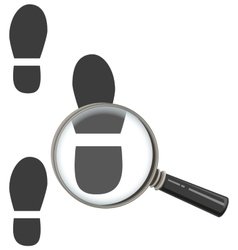 Magnifying glass increases footprint of man vector