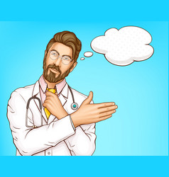 Male doctor in white gown cartoon portrait vector