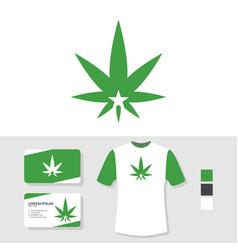 marijuana leaf logo design with business card vector image