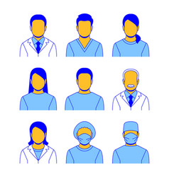 medical professional staff flat line avatars vector image