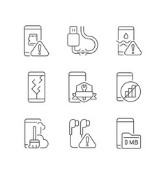 mobile phone technical issues linear icons set vector image