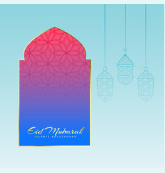 mosque door with hanging lamps for eid festival vector image