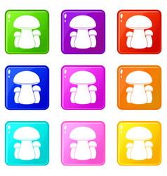 Mushroom set 9 vector