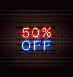 neon 50 off text banner night sign vector image