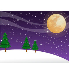 Night christmas on full moon background vector