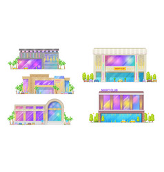 night club disco dance hall city buildings vector image