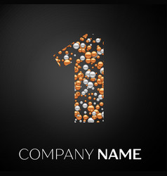 number one logo gold-silver dots vector image