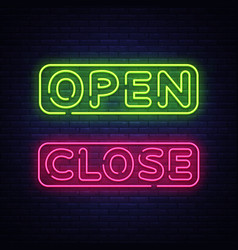 open close neon text open close neon vector image