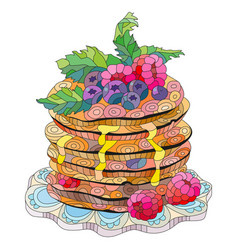 Pancakes with raspberries blueberries and vector