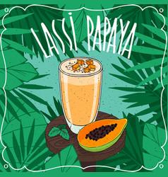 papaya indian drink lassi with fresh juice vector image