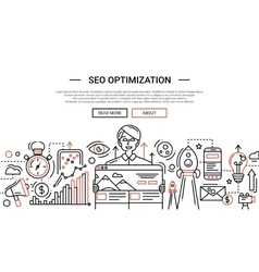 SEO Optimization - line design website banner vector