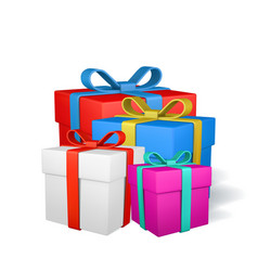 set gift boxes with bow isolated on white vector image