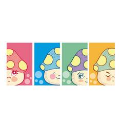 set of cute mushrooms cartoons vector image