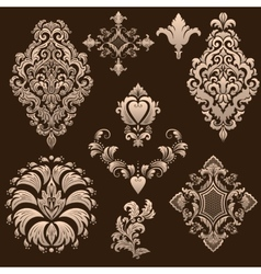 set of damask ornamental elements vector image