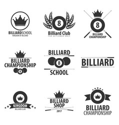 Set of logos for billiard school club or shop vector