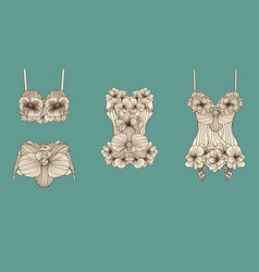 Set of retro lingerie pieces made of linear vector