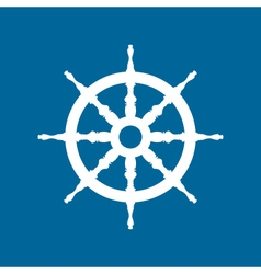 Ship Wheel Isolated on Blue Background vector image vector image