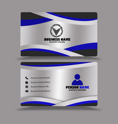 silver black blue business card template vector image