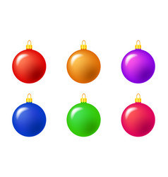 simple bauble set for christmas tree isolated on vector image