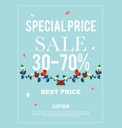 Special price sale 30-70 banner for advertisement vector