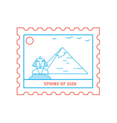 Sphinx of giza postage stamp blue and red line vector