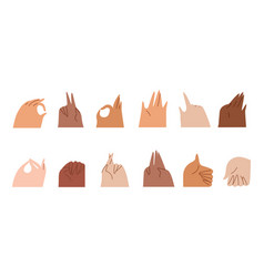 Sticker set various gestures hands isolated on vector