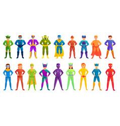 Superhero icons set cartoon style vector