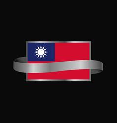 Taiwan flag ribbon banner design vector